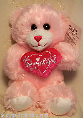 "Dan Dee TEDDY BEAR w ""PRINCESS"" HEART Soft Pink 9"" Plush Stuffed Toy VALENTINE"