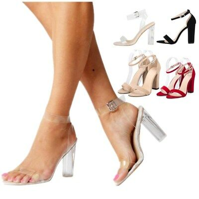 AU Women's Ladies High Clear Block Heel Ankle Strappy Open Toe Sandal Shoes