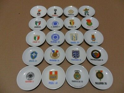 1970 World Cup Amazing Collection of Mini Ceramic Plates are 20 pieces MEXICO 70