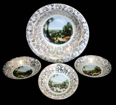 Vintage BCM Lord Nelson Ware large gold chintz master bowl & 3 smaller