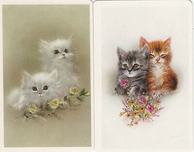 Vintage Swap / Playing Cards - 2 SINGLE - GIORDANO KITTENS & FLOWERS