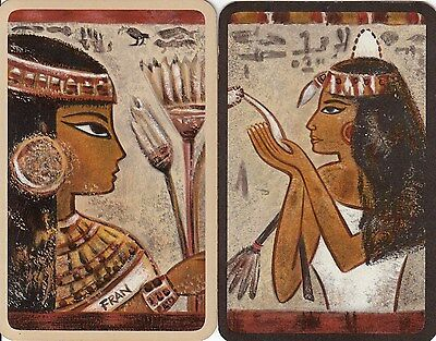 Vintage Swap/Playing Card - 2 SINGLE OVERSIZED - HALLMARKS - EGYPTIAN