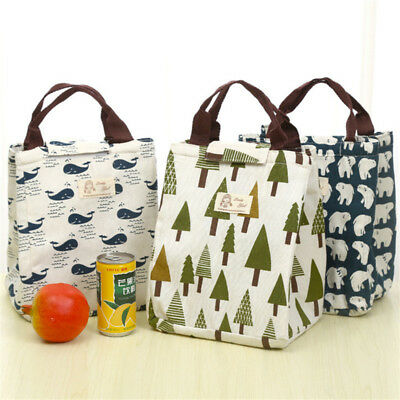 Cute Animal Plant Portable Insulated Canvas Cooler Lunch Bag Thermal Food Tote