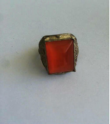 Chinese Inlay red opal Tibet Silver dargon phoenix old man Ring Collectible