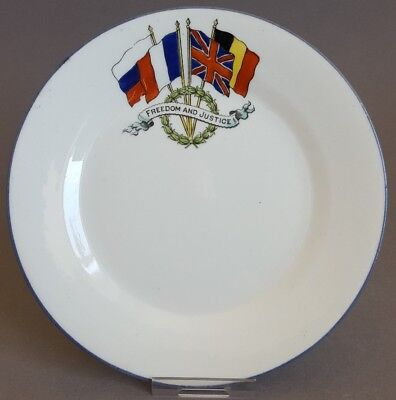 WW1 Allies Plate Freedom & Justice 1914 Gt Britain France Russia Belgium  B1