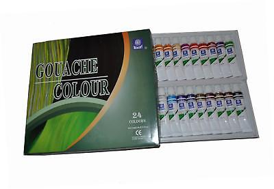 Gouache Paint Set, 24 Colours in 12ml Aluminium Tubes, Retail Packed
