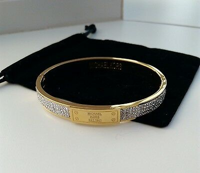Michael Kors Bangle Chunky Plaque Gold Bangle Bracelet w/ a pouch