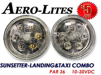 Aircraft LED Landing & Taxi Light SET PAR 36 10-30 Volt - Aero-Lites