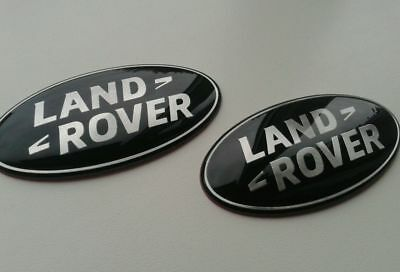 2x LAND ROVER FRONT GRILL REAR TAILGATE BADGE ,BLACK DEFENDER, DISCOVERY,