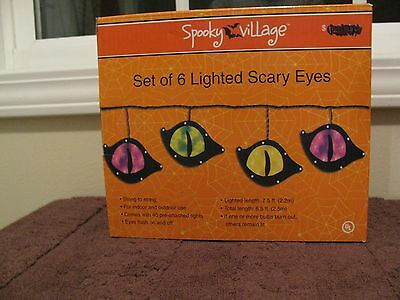 """Spooky Village Halloween Set of 6 Lighted Scary Eyes Indoor/Outdoor """"NEW"""""""