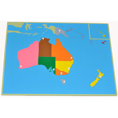 MONTESSORI WOODEN Puzzle MAP AUSTRALIA Knobs Homeschool LEARN GEOGRAPHY