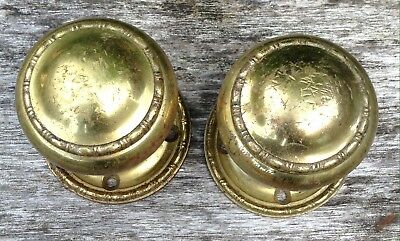 Vintage Antique Reclaimed Brass Door Knobs Rope Detail Great Patina 2