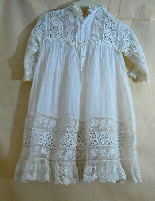 EXQUISITE 1900s ANTIQUE WHITE LACE CHILD'S DRESS TT147