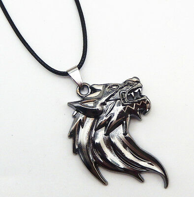 e5de416a8f5 TRIBAL STAINLESS STEEL Resin Dragon Wolf Teeth Pendant Men's ...