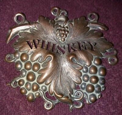 Vintage Brass Whiskey Label. Leaf And Grape Repousse - Exquisite