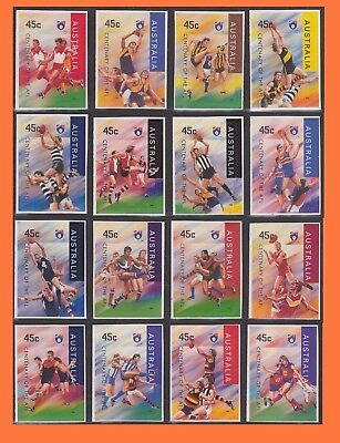 1996 Centenary of AFL Australian Rules Football set of 16 P&S booklet stamps MNH