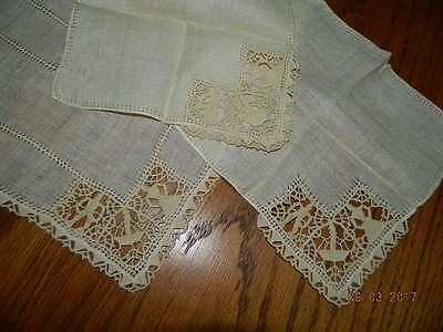 Antique Crochet Lace Placemats & Napkins People Figures Breakfast Tray Set Italy