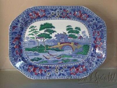 """Rare Copeland Spodes TOWER Blue Multi-Colored Large 17"""" Platter"""