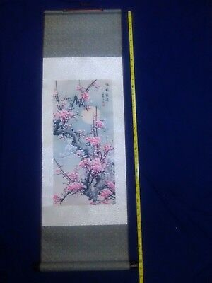 japanese hanging scroll art painting of a cherry blossom signed