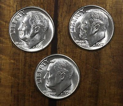 1956 1957 1958 P Roosevelt Dimes  CH BU  LUSTER! 90% Silver US FREE SHIPPING!