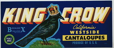 KING CROW Vintage Cantaloupe Crate Label Bird, Blackbird, **AN ORIGINAL LABEL**