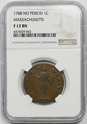 1788 No Period 1C NGC F 12 BN Massachusetts Copper Cent Colonial Scarce