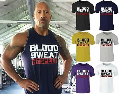 New Mens Blood Sweat Respect Rock Armour Training Gym Crew Neck T-Shirt Top