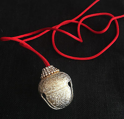 Christmas Bell Necklace on Red Cord Holiday