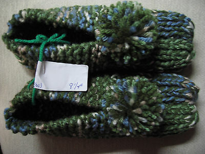 New Amish Handmade Knit House Slippers Green Mix Womans Sm Mans X Sm 8 1/4""