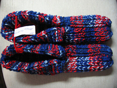 New Hand Knit Slippers USA Flag Red White Blue Ladies 3X Lg Mans 2X Lg 11 1/2""