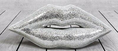 Large SILVER Crackle Mosaic Sparkly Decorative Lips Stunning Wall Hanging Decor