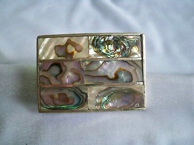 Vintage Alpaca Mexico Abalone Shell Silver Plated Belt Buckle