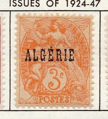 Algeria 1924 Early Issue Fine Mint Hinged 3c. Optd 170502