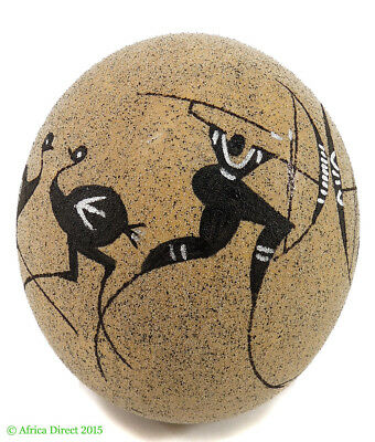Ostrich Egg Sand Rock Painting Tan South African Art
