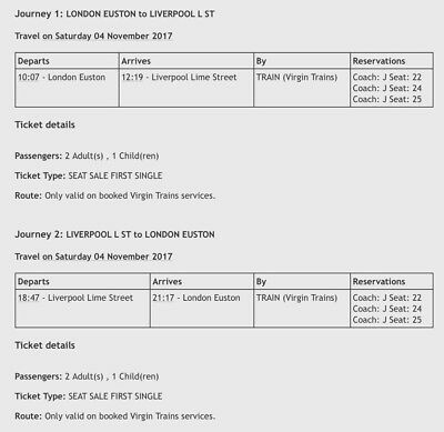 Child First Class Day Return 4th November - Euston to Liverpool Lime St