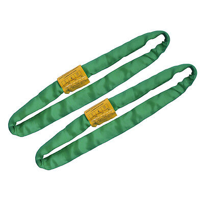 Endless Round Lifting Sling Heavy Duty Polyester Green 2'. Sold in Pair