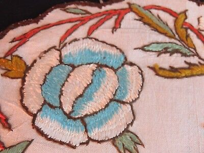 Antique Doilies Hand Embroidered Society Silk Flowers Embroidery Table Mats 8.5""