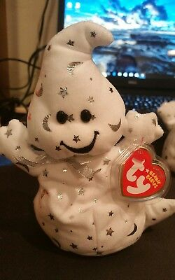 Ty Beanie Babies 2008 VANISH the Cute Ghost w/ Silver Print Stars & Moons