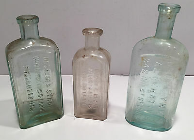 Philadelphia Medicine Bottles ~ Lot of Three ~ Pre 1900