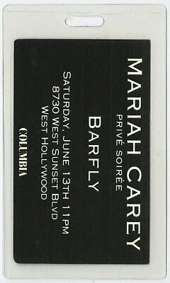 Mariah Carey authentic 2000's Laminated Backstage Pass Barfly West Hollywood