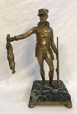 Antique Bronze French Soldier & Rabbit Statue On Marble Base
