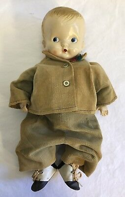 Vintage IRWIN Celluloid Or Plastic Boy Doll Original Clothes Made In USA