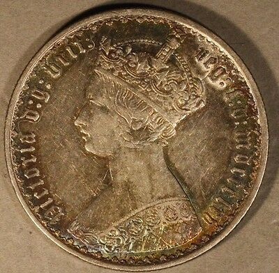 1865 Great Britain Gothic Florin Orig. Toning, Nice   ** FREE U.S SHIPPING **