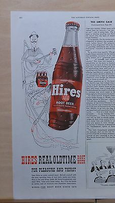 1953 magazine ad for Hires Old Time Root Beer - couple in canoe