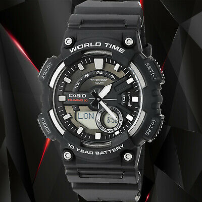 Casio AEQ-110W-1A Mens Black 100M World Time Digital Watch Analog Sports New