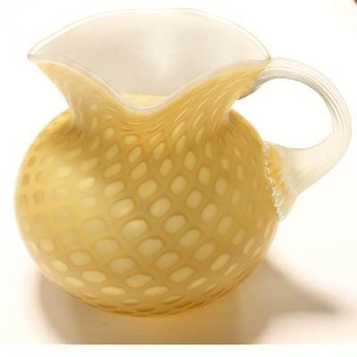 Antique Mother of Pearl Cased Glass Victorian Water Pitcher Yellow Satin Dots
