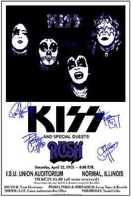 """KISS + Rush 1975 """"signed"""" Box Office CONCERT POSTER  beautiful!"""