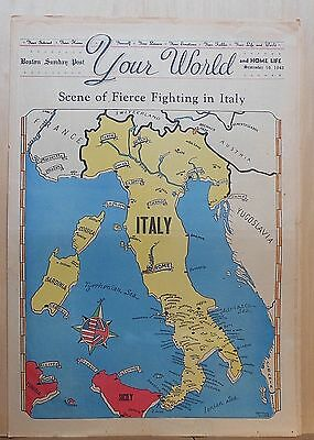 1943 full page color Newspaper Map - Scene of Fierce Fighting in Italy, WW2