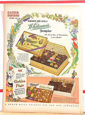 1954 magazine ad for Whitman's Sampler candy - Easter theme ad with bunnies
