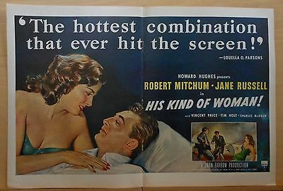 1951 double page magazine ad for movie HIs Kind of Woman - Mitchum, Jane Russell